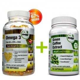 GreeNatr puro café verde extracto de frijol - Omega 3 píldoras de aceite de pescado - Paquete de Soporte colesterol