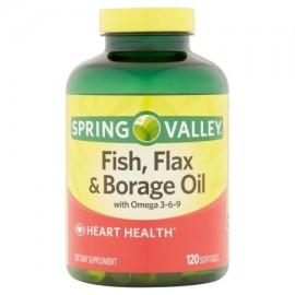 Spring Valley pescado lino y aceite de borraja Cápsulas suplemento dietético 120 ct