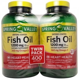 Spring Valley Cápsulas de aceite de pescado suplemento dietético 1200 mg 200 ct 2 pk