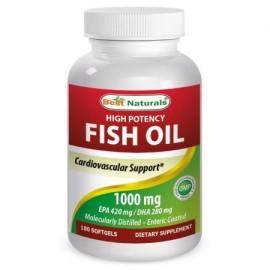Best Naturals Alta Potencia Omega-3 de aceite de pescado 1000 mg 180 Softgels (EPA 420 MG - DHA 280 MG)
