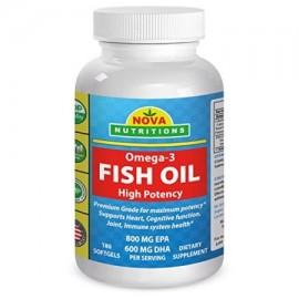 Nova Nutritions pescado omega-3 de aceite 180 Softgels