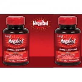 2 botellas de Schiff MegaRed. 350 mg Omega-3 Krill Oil 130 Softgels