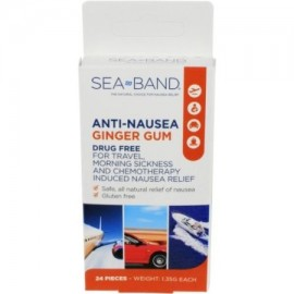 5 Pack Sea-Band Anti-Nausea Ginger Gum For TravelMorning Sickness 24 Pieces Ea