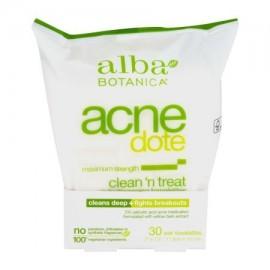Alba Botanica acné Dote Clean 'N Treat limpieza diaria Toallitas Maximum Strength - 30 CT