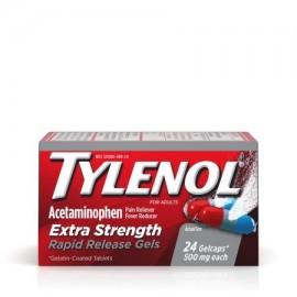 TYLENOL ® cápsulas de liberación rápida fiebre reductor y Analgésico 500 mg 24 ct.