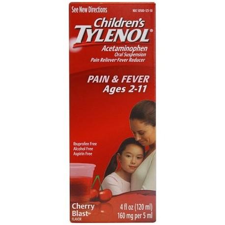 TYLENOL infantil Dolor y Fiebre Relief Ráfaga de la cereza Líquido 4 oz (Pack de 3)