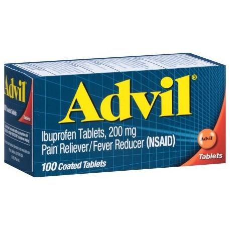 Advil analgésico - reductor de la fiebre Tableta recubierta 200 mg de ibuprofeno un alivio temporal del dolor (100 COUNT)