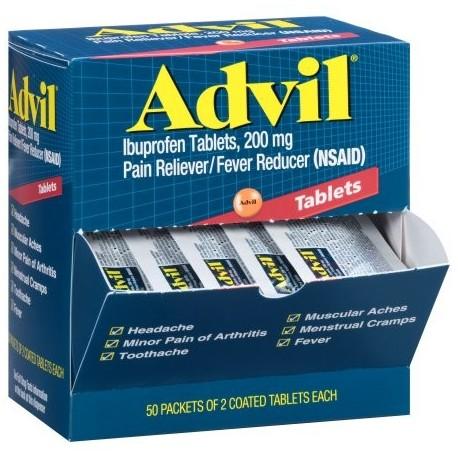 Advil analgésico - reductor de la fiebre Coated Tablet Refill 200 mg de ibuprofeno un alivio temporal del dolor (50 paquetes de