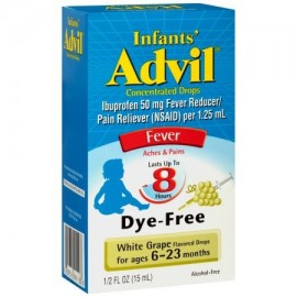 Infants' Advil gotas concentradas reductor de la fiebre - Analgésico (Ibuprofen) en sin colorantes Sabor de uva blanca 50 mg 05