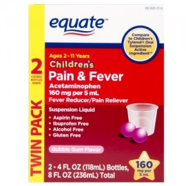 equate Bubble Gum Flavor Suspensión oral de los niños acetaminofeno reductor de la fiebre - Analgésico 4 fl oz 2 ct