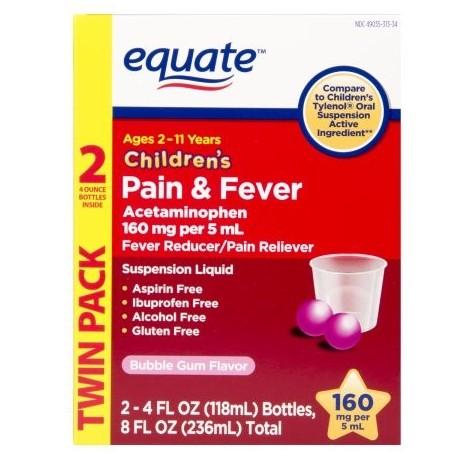 equate Bubble Gum Flavor Suspensión oral de los niños acetaminofeno reductor de la fiebre - Analgésico 4 fl oz 2 ct