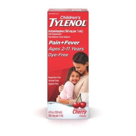 TYLENOL® suspensión oral de los niños reductor de la fiebre y Analgésico sin colorantes cereza 4 fl oz