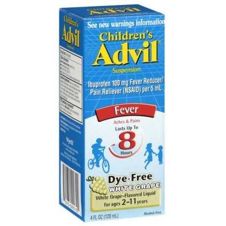 Advil Fiebre Suspensión infantil uva blanca (4 onzas Pack de 2)