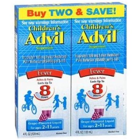 Suspensión Advil infantil Fever Ibuprofen Líquido Uva 8 oz Twin Pack (paquete de 2)