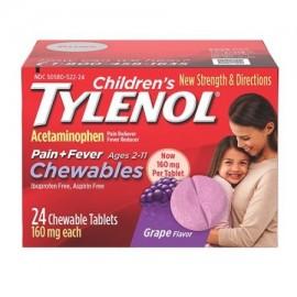 TYLENOL Childrens Dolor Fiebre Plus tabletas masticables Uva 24 Ea paquete de 2