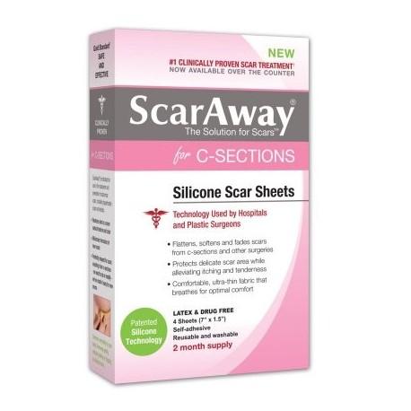 """ScarAway Strips cesárea tratamiento de la cicatriz silicona adhesivo blando Tela 7"""" x 15"""" de 4 Ct"""