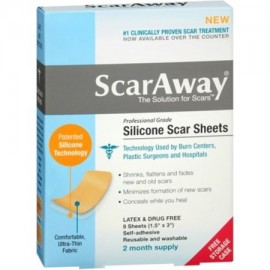 "ScarAway láminas de silicona Scar 8 Count (15"" x 3"" ) 8 Cada (Pack de 4)"