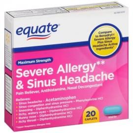 equate Maximum Strength severa alergia y dolor de cabeza sinusal Cápsulas 20 de recuento
