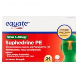 equate Suphedrine PE Sinusitis y alergia tabletas 24 piezas