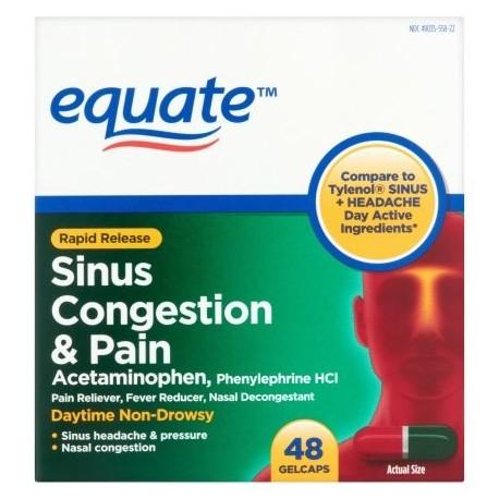 equate congestión de liberación rápida del dolor sinusal y cápsulas de gel 48 conteo