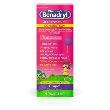 Benadryl para niños - D Alergia y sinusitis líquida 4 Oz