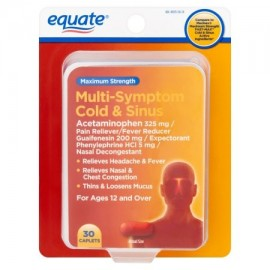 equate Maximum Strength Multi-Symptom Cold Relief Caplets y de los senos paranasales 30 ct