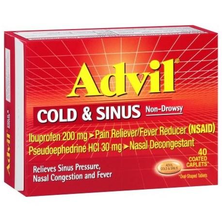 Advil ® Cold -amp- Sinus no causa somnolencia analgésico - antipirético y descongestionantes cápsulas recubiertas Box 40 ct