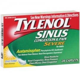 TYLENOL Sinus Congestion -amp- Pain Severe Caplets Daytime no soñoliento 24 EA (paquete de 6)