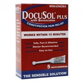Paquete de 5 DocuSol Plus con benzocaína estreñimiento Alivio del Dolor 5 Mini enemas Cada