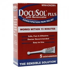 DocuSol Plus con benzocaína estreñimiento Alivio del Dolor 5 Mini enemas
