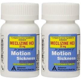 Meclizina 25 mg genérico para Bonine Tabletas Masticables para la enfermedad de movimiento y Anti-Náusea 200 comprimidos