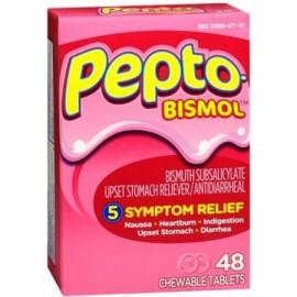 Pepto-Bismol tabletas masticables 48 comprimidos originales (paquete de 6)