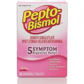 Pepto-Bismol tabletas masticables original 30 ea (Pack de 2)