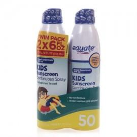 equate Protector solar Niños rociado continuo SPF 50 6 onzas fluidas 2 pk