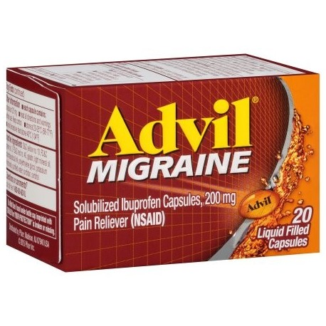 Advil solubilizada Ibuprofen cápsulas 200 mg Analgésico (AINE) Advil Migraña 20 ct