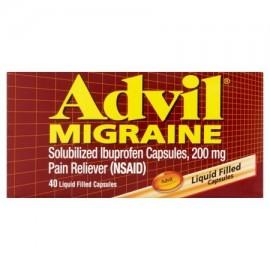 Advil llenadas líquido cápsulas migraña 40 ct