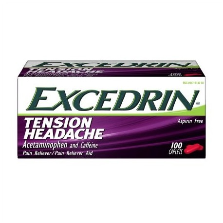 Excedrin Cápsulas de cabeza por tensión Aspirina-Libre para la cabeza el cuello y el hombro alivio del dolor de 100 unidades