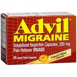 72 Packs- Advil migraña para aliviar el dolor Liqui-Gels - 20 Ea