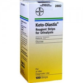 Ceto - Tiras reactivas para análisis de orina Diastix pruebas de orina glucosa y cetona 100 ct