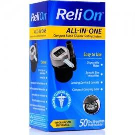 ReliOn Todo en Uno compacto Sistema de prueba de glucosa en sangre