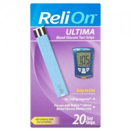 ReliOn Strips Ultima prueba de glucosa 20 Count