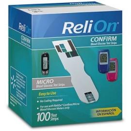 ReliOn Confirmar - Strips Micro prueba de glucosa 100 Ct