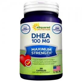 Asquared Nutrition DHEA 100mg Cápsulas de fuerza máxima 200 Ct