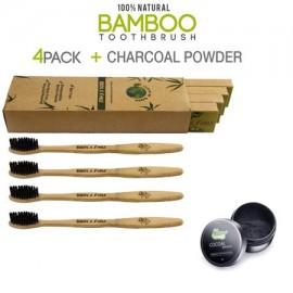 4 Pack de bambú Eco-Friendly Cepillo de dientes y un frasco de Activado dientes carbón natural Blanqueamiento Polvo para Brigh