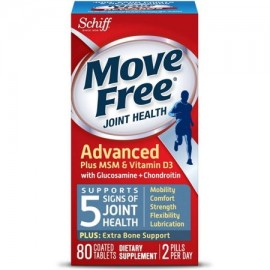 3 Pack - MOVE FREE Avanzado Plus MSM y Vitamina D3 Salud de las articulaciones Suplemento con glucosamina y condroitina 80 ct