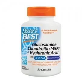 Doctor's Best La glucosamina condroitina MSM - Ácido Hialurónico con OptiMSM y BioCell colágeno Joint Support Non-GMO sin glu