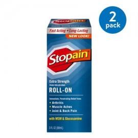 (2 Pack) Stopain Extra Strength para aliviar el dolor Roll-On con MSM y Glucosamina 30 onzas líquidas