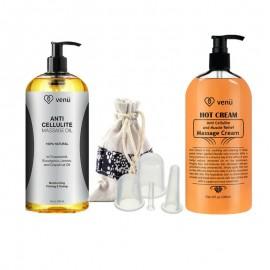 Anti Celulitis Aceite de masaje crema caliente Muscle Relief Gel y 4 tamaños de vacío de silicona masaje ahuecamiento Copas Ki