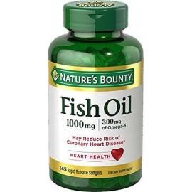 Nature's Bounty pescado 1000 mg de aceite libre de colesterol Omega-3 145 cápsulas blandas Cada