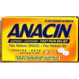 Anacin ASPIRINA - CAFEÍNA RÁPIDO alivio de la cefalea 50 Comprimidos recubiertos en frío del dolor de muelas
